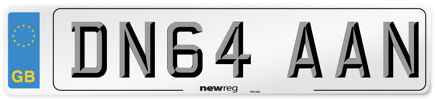 DN64 AAN Number Plate from New Reg