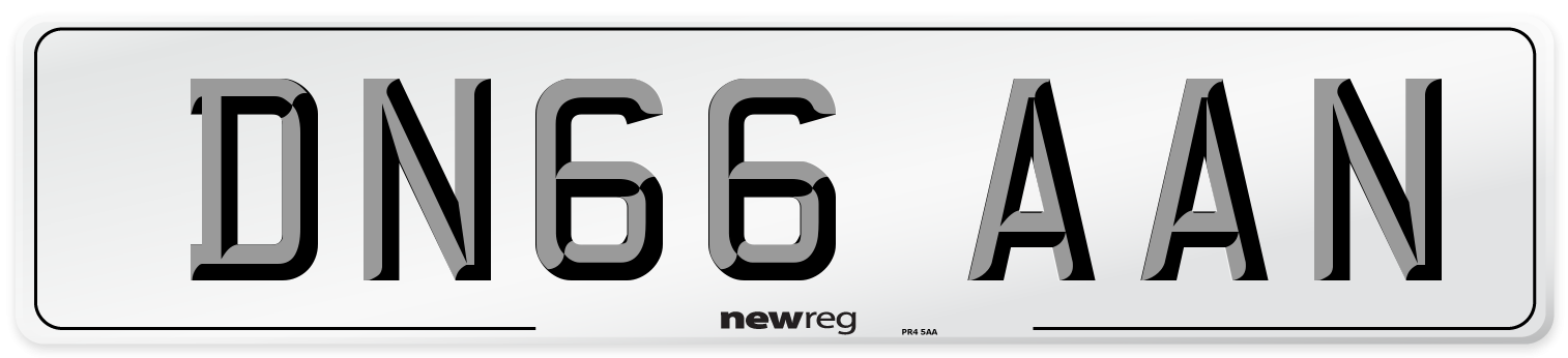 DN66 AAN Number Plate from New Reg