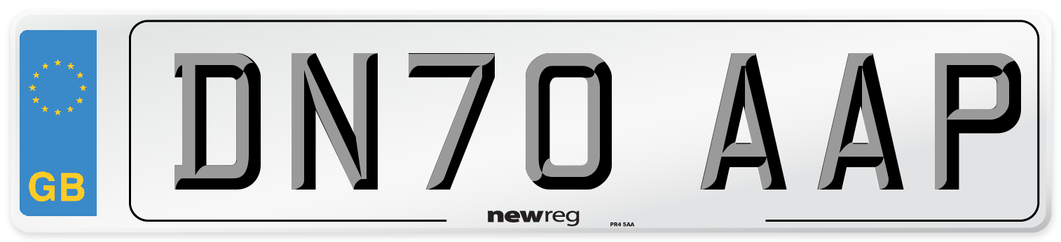 DN70 AAP Number Plate from New Reg