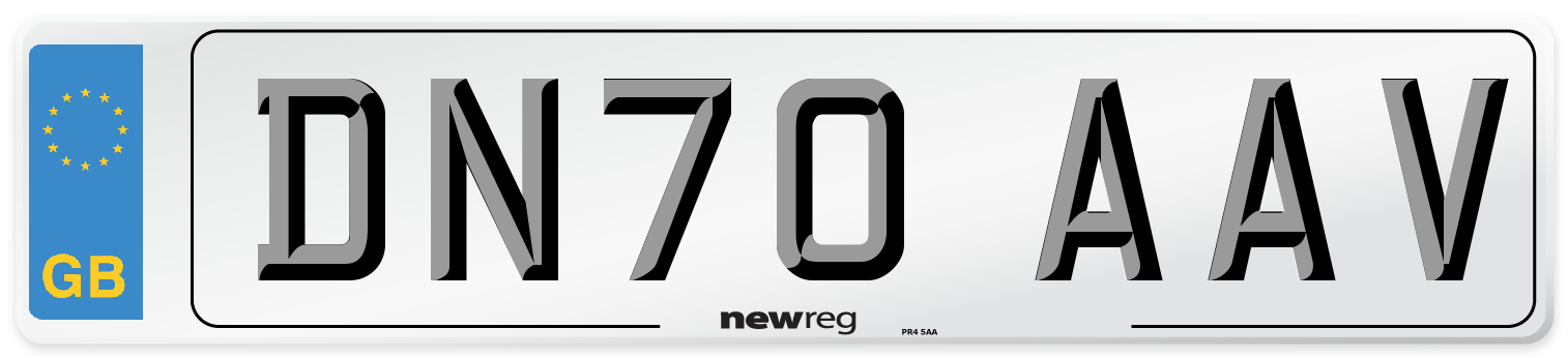 DN70 AAV Number Plate from New Reg