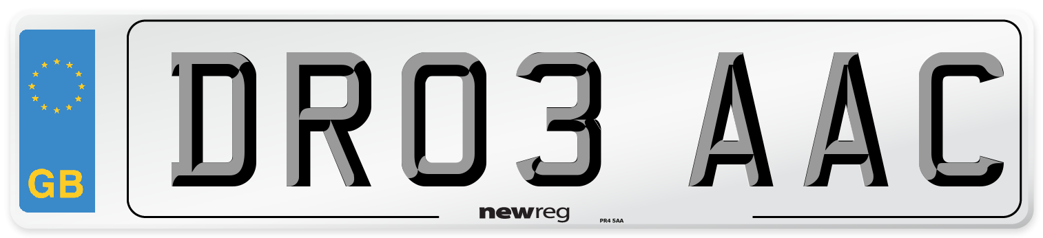 DR03 AAC Number Plate from New Reg