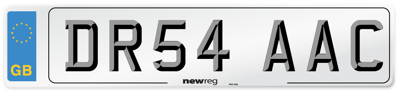 DR54 AAC Number Plate from New Reg