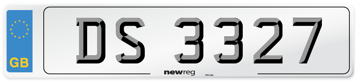 DS 3327 Number Plate from New Reg