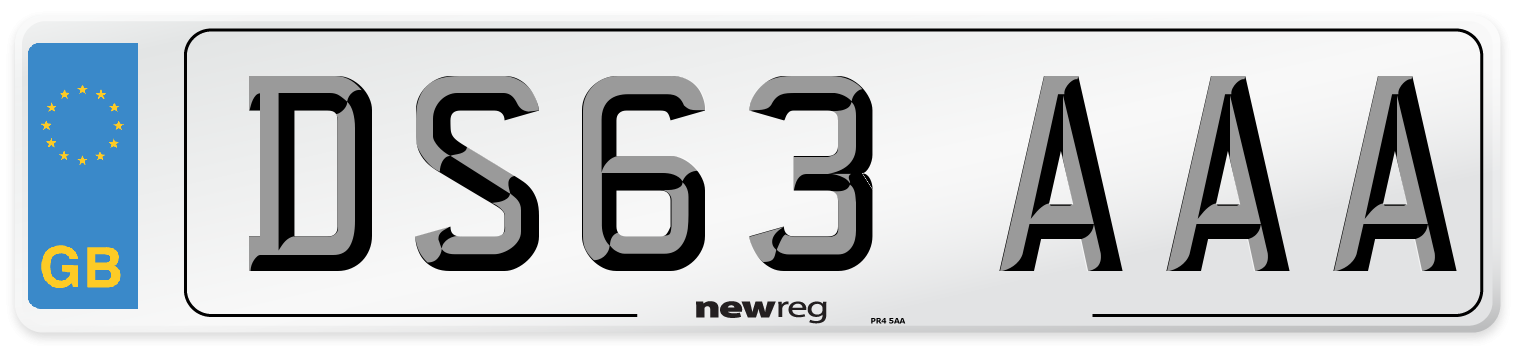 DS63 AAA Number Plate from New Reg