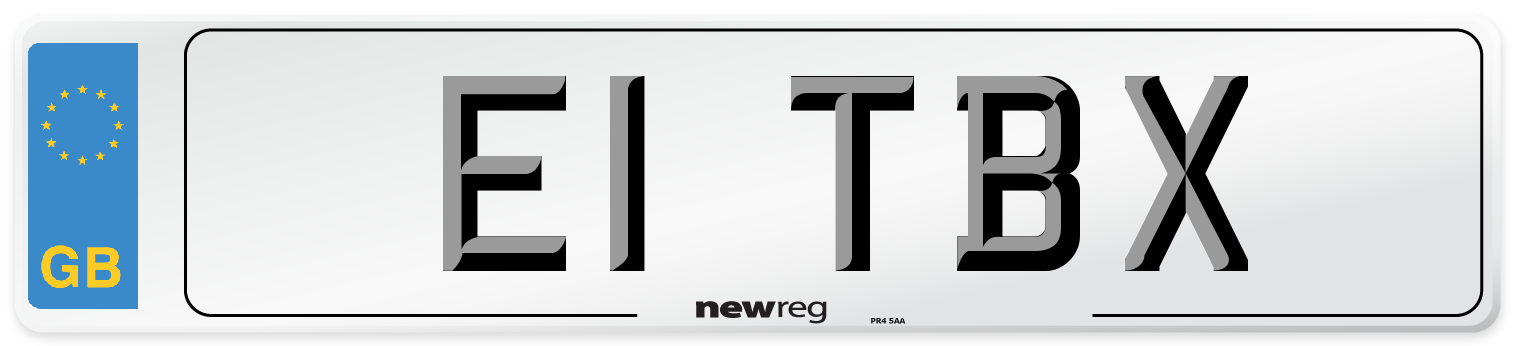 E1 TBX Number Plate from New Reg