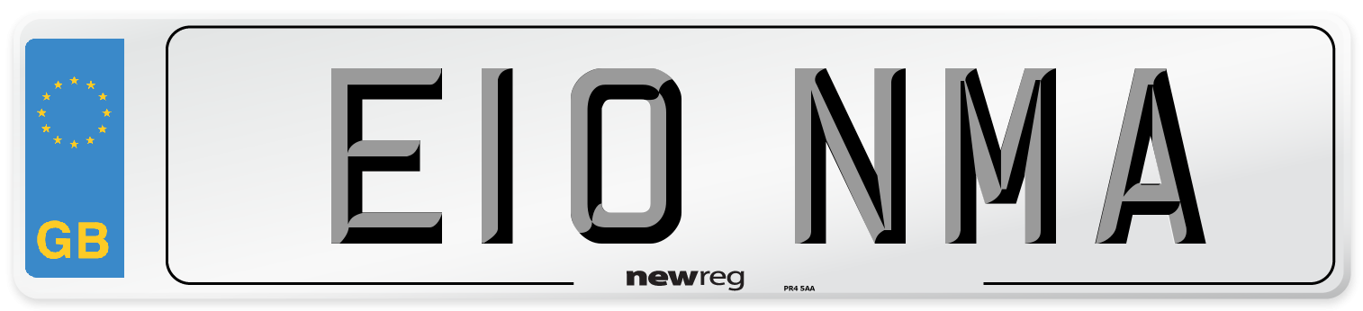 E10 NMA Number Plate from New Reg