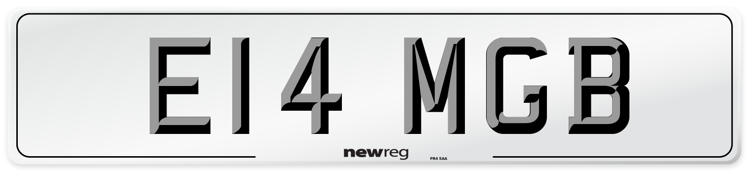 E14 MGB Number Plate from New Reg