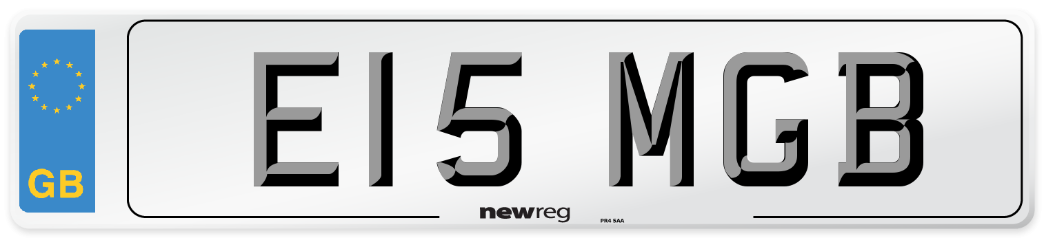 E15 MGB Number Plate from New Reg