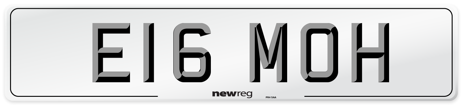 E16 MOH Number Plate from New Reg