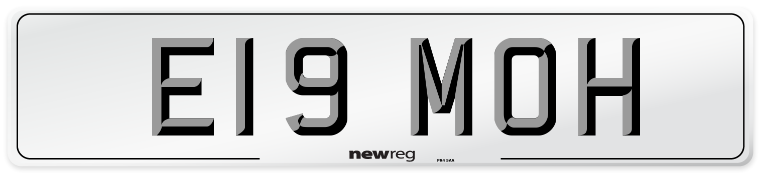 E19 MOH Number Plate from New Reg
