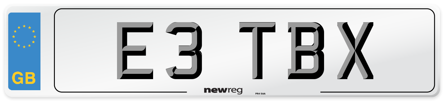 E3 TBX Number Plate from New Reg