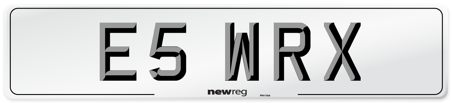 E5 WRX Number Plate from New Reg