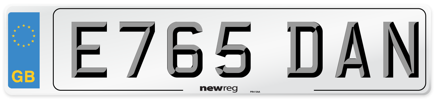 E765 DAN Number Plate from New Reg