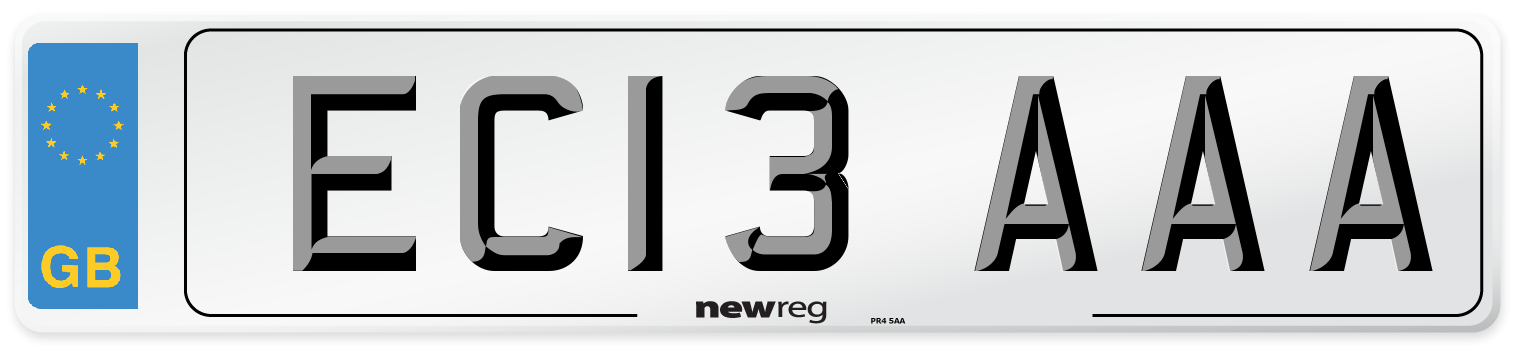 EC13 AAA Number Plate from New Reg