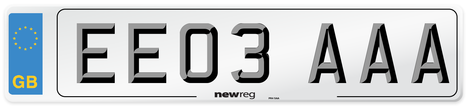 EE03 AAA Number Plate from New Reg