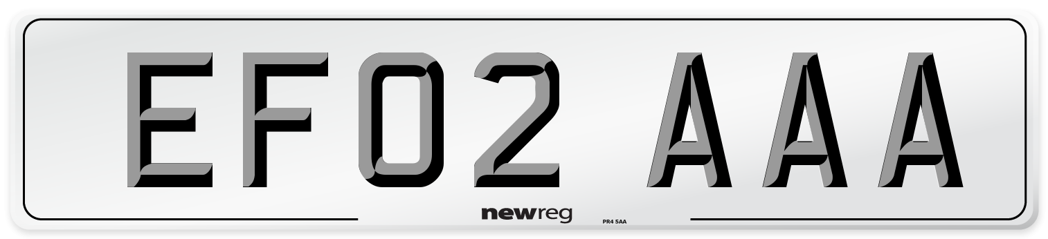 EF02 AAA Number Plate from New Reg