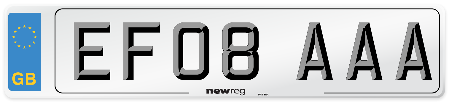 EF08 AAA Number Plate from New Reg