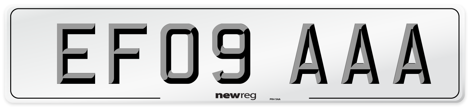 EF09 AAA Number Plate from New Reg