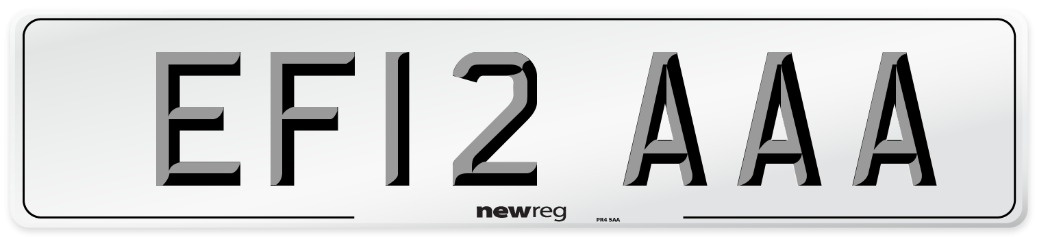 EF12 AAA Number Plate from New Reg