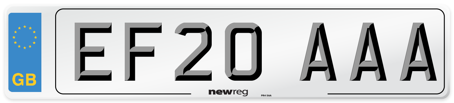 EF20 AAA Number Plate from New Reg