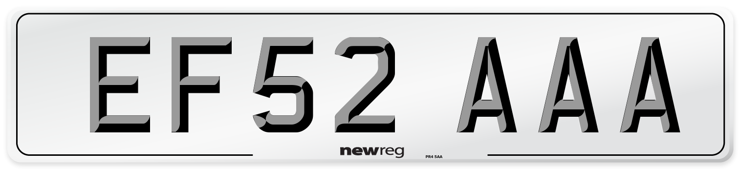 EF52 AAA Number Plate from New Reg