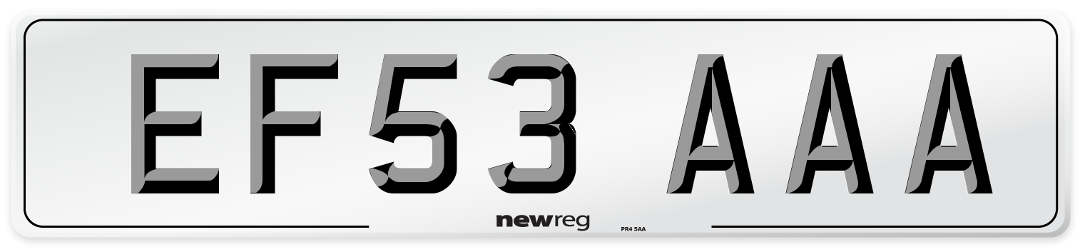 EF53 AAA Number Plate from New Reg