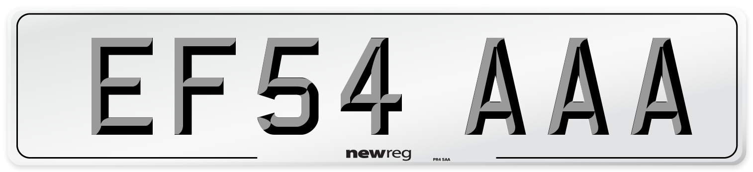 EF54 AAA Number Plate from New Reg