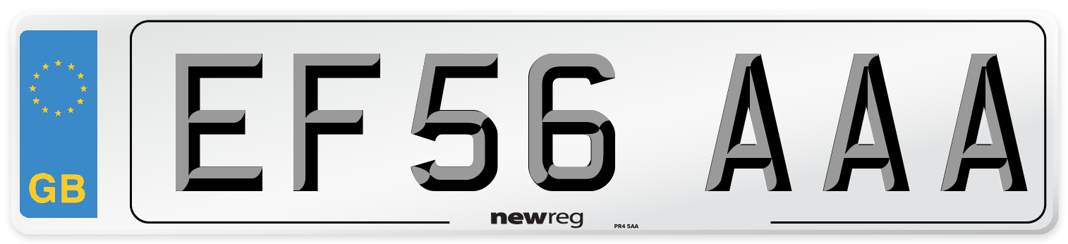EF56 AAA Number Plate from New Reg