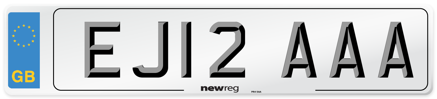 EJ12 AAA Number Plate from New Reg