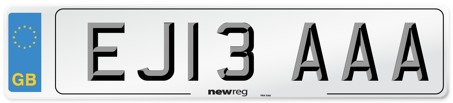 EJ13 AAA Number Plate from New Reg