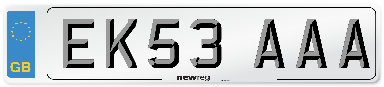 EK53 AAA Number Plate from New Reg