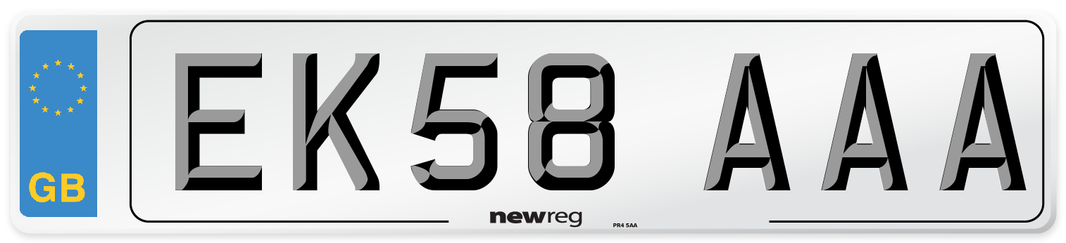 EK58 AAA Number Plate from New Reg