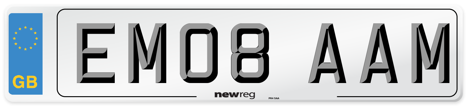 EM08 AAM Number Plate from New Reg