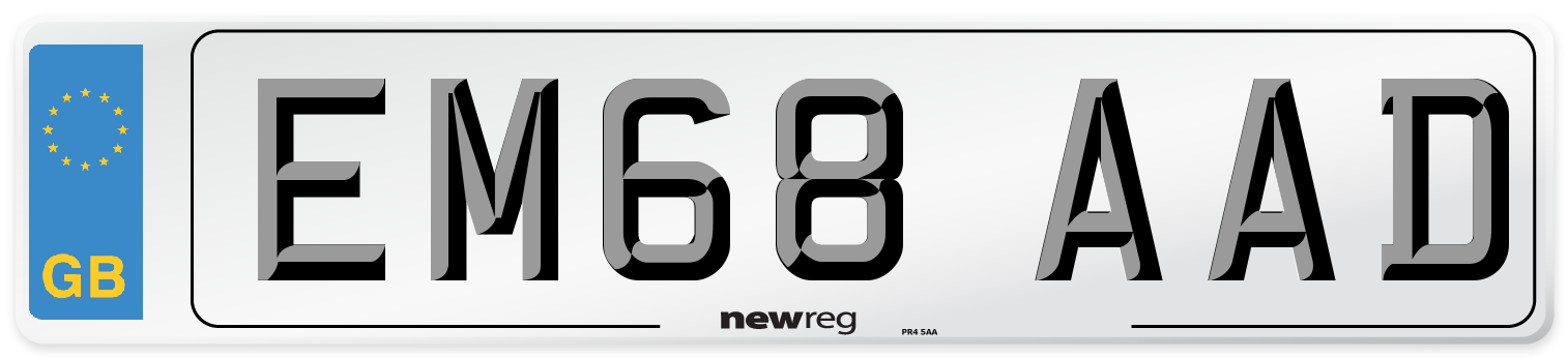 EM68 AAD Number Plate from New Reg