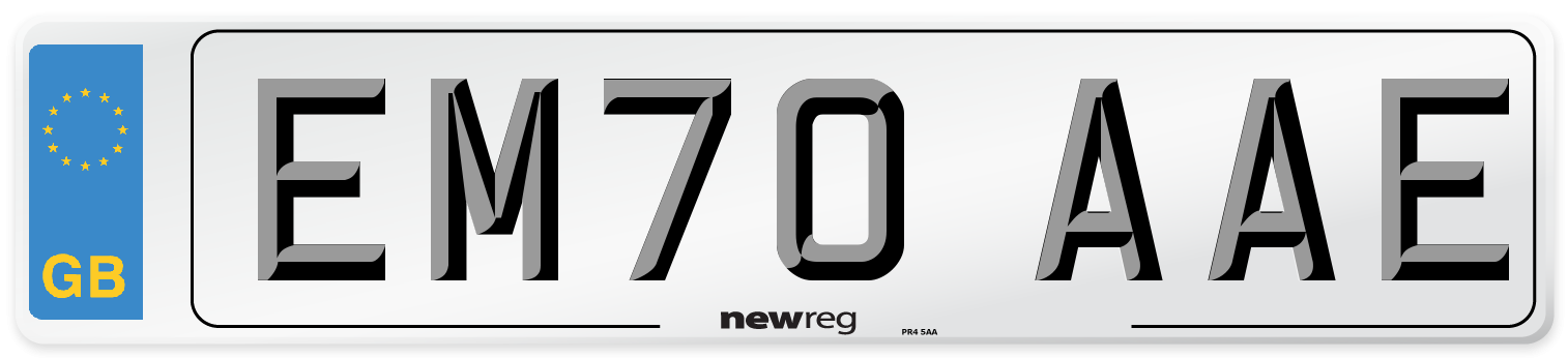 EM70 AAE Number Plate from New Reg