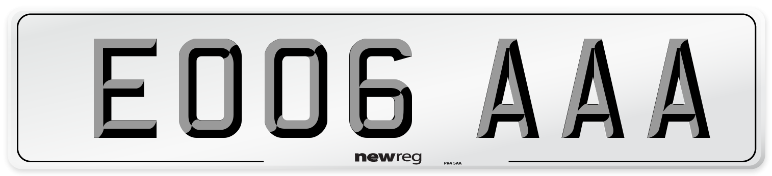 EO06 AAA Number Plate from New Reg