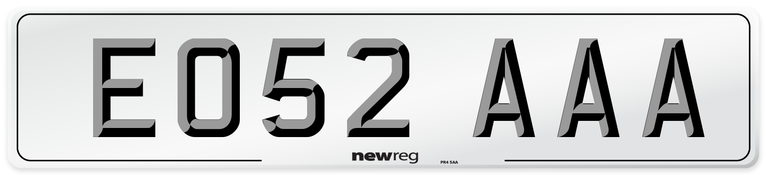 EO52 AAA Number Plate from New Reg