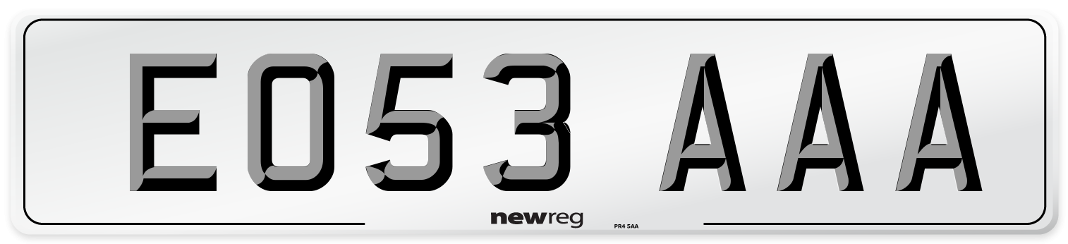 EO53 AAA Number Plate from New Reg