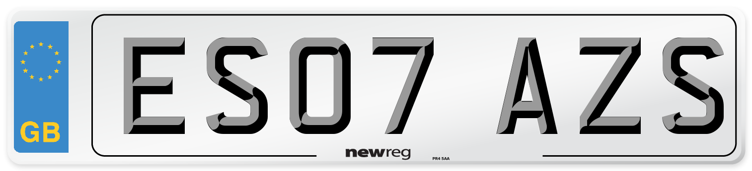ES07 AZS Number Plate from New Reg