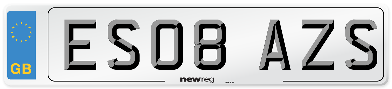 ES08 AZS Number Plate from New Reg