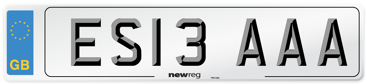 ES13 AAA Number Plate from New Reg