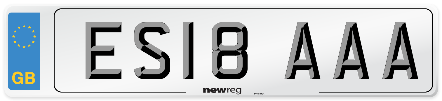 ES18 AAA Number Plate from New Reg