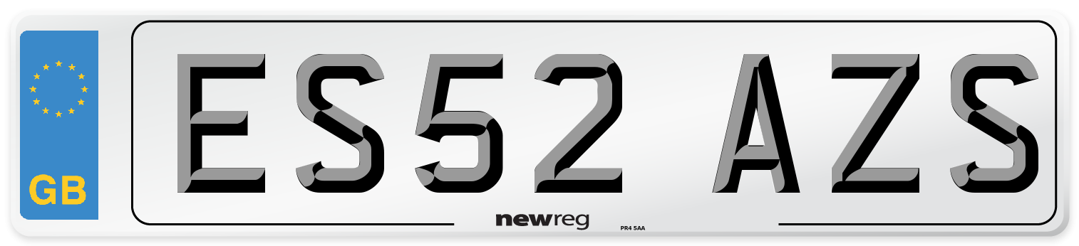 ES52 AZS Number Plate from New Reg