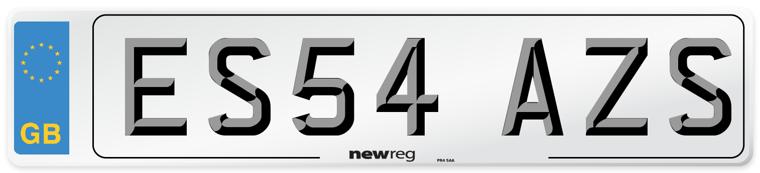 ES54 AZS Number Plate from New Reg