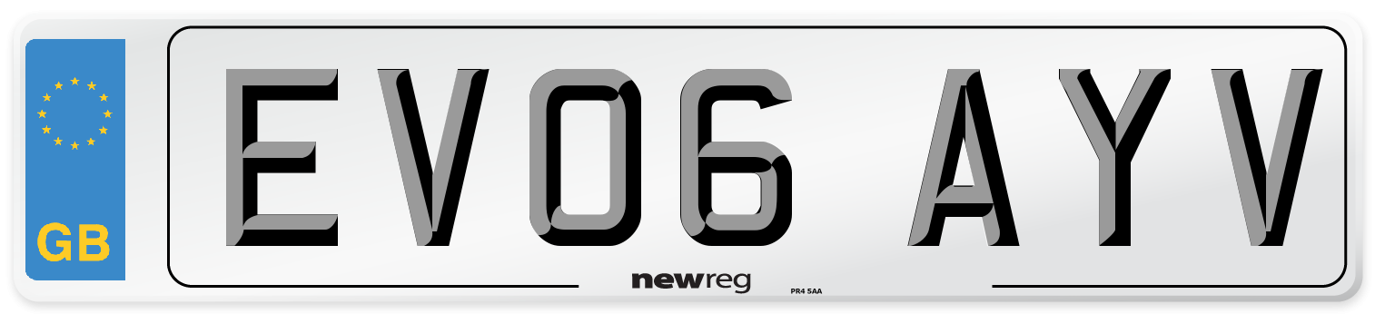 EV06 AYV Number Plate from New Reg