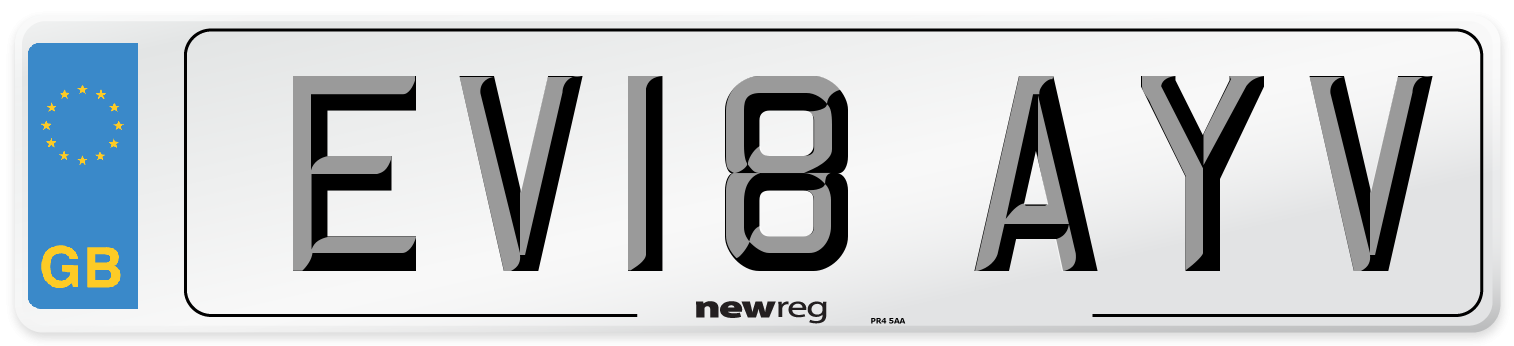 EV18 AYV Number Plate from New Reg