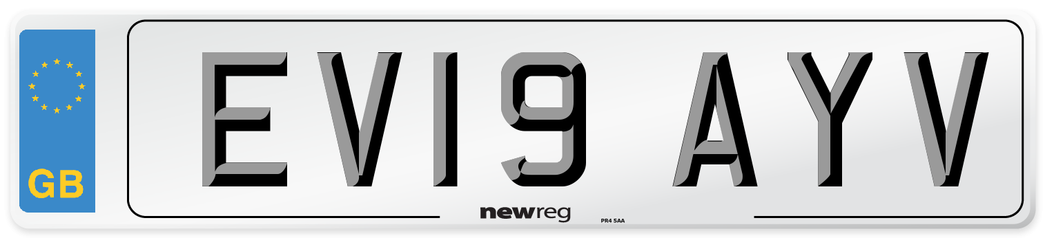 EV19 AYV Number Plate from New Reg
