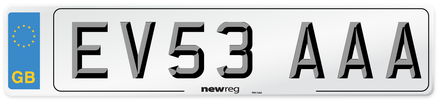 EV53 AAA Number Plate from New Reg