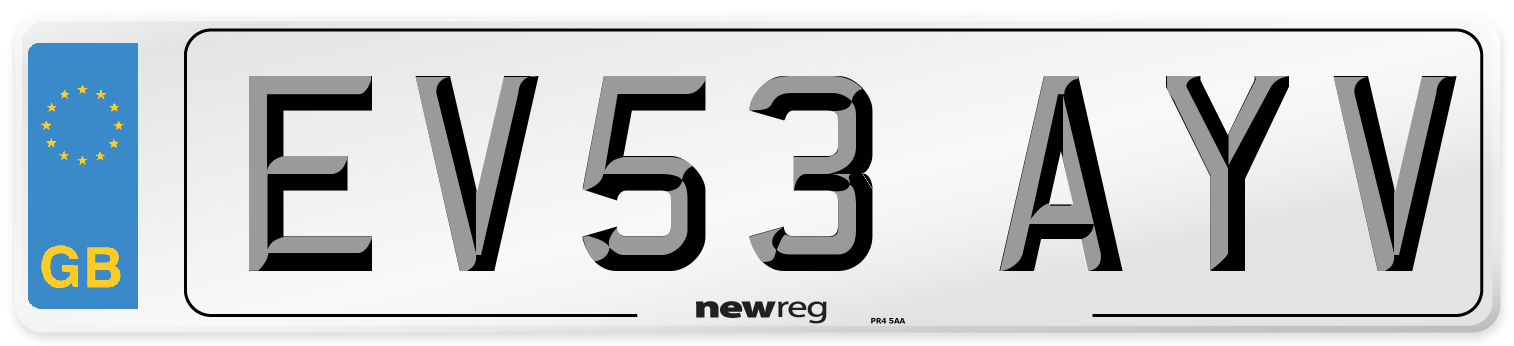 EV53 AYV Number Plate from New Reg