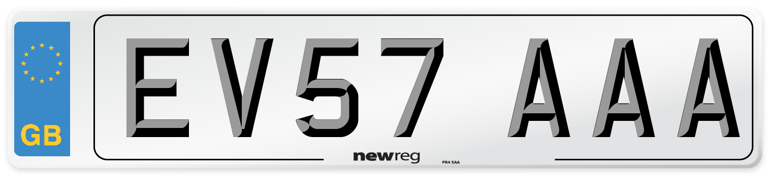 EV57 AAA Number Plate from New Reg